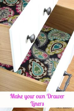 Pick a cute fabric and learn how to make your own drawer liners. DIY Drawer Liners!- The 2 Seasons