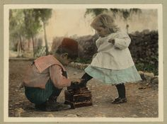 Vintage Picture of Two Children, A Cute Boy giving a Shoe Shine to a Beautiful Little Blonde Girl | Flickr - Photo Sharing!