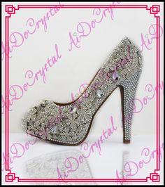 Aidocrystal Sexy Runde Kappe Schuhe Frau High Heel 14 cm Hohe Frauen High Heels weiße hochzeit Pumps Strass Schuhe //Price: $US $228.00 & FREE Shipping //     #dazzup