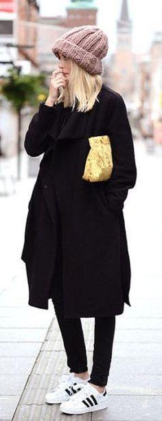 #winter #fashion / all-black + beannie