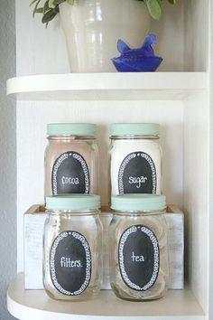 DecoArt Blog - Project - Chalkboard Mason Jar Kitchen Storage