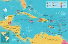 Caribbean map - from mundodosmapas.art.br - the site of Nik Neves and Marina Camargo