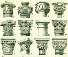 1897 capitales órdenes de arquitectura de estilo ilustración | Etsy