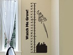 Growth Chart Wall Decal with Flying Super Hero Boy or Girls Bedroom Decor. $23.00, via Etsy.