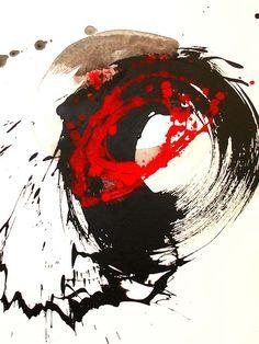 Energie : Tester différentes façon de faire... de peindre, dessiner... En s'inventant des contraintes : faire un maximum de bruit avec son crayon, ne pas toucher la feuille avec son pinceau, se mettre à un mètre du Journal, debout, etc.   -  Nakajima Hiroyuki: Ensō