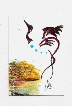 aceo crane bird native aboriginal abstract Walker ebsq caat sfa art painting