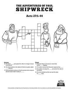 Acts 27 Shipwreck Sunday School Crossword Puzzles: This Acts 27 Crossword Puzzle will get your kids searching their Bibles! Filled with questions from the Shipwreck Sunday School lesson this printable activity is a dream come true for any teacher! Bible Videos For Kids, Bible Activities For Kids, Sunday School Activities, Sunday School Lessons, Sunday School Crafts, Bible For Kids, Puzzles For Kids, Christmas Crossword Puzzles, Printable Crossword Puzzles