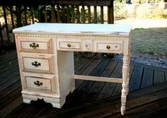 i am going to make an old desk i bought from a yard sale just like this one into a vanity for myself maybe with some beach themed decor :) to go with my palm tree bedroom