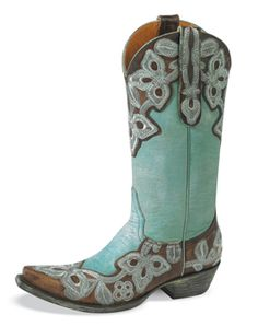 It says Spring. Cool, aqua dyed leather with intricate, aqua stitch pattern on brown overlay.