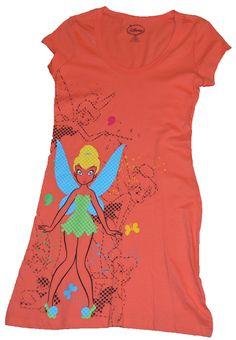 New Authentic Disney Tinkerbell Tinker Bell Orange Lounge Dress Juniors + Stickers