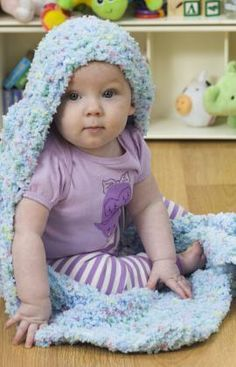 Hooded Baby Blanket Free Knitting Pattern from Red Heart Yarns