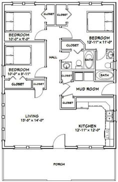 Build a shed on a weekend Plans 2836 House 1008 sq ft Excellent Floor Plans 3 Bedroom Floor Plan, House Plans 3 Bedroom, Tiny House 3 Bedroom, 3 Bedroom Garage Apartment, Small House Interiors, 30x40 House Plans, Bedroom Ideas, Bedroom Designs, Girls Bedroom
