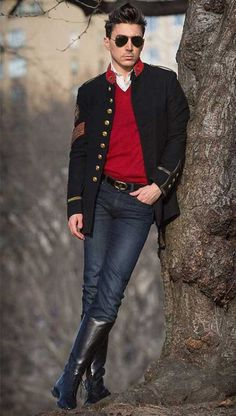 Booted in park | Urban men in tall boots | Pinterest