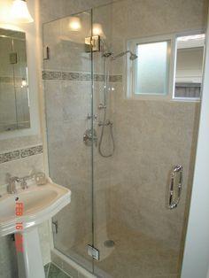 shower.  Like the tile/border.  Would like sliding door if possible.
