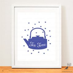 Blue Tea Kettle, Tea Time Quote by WordBirdShop Tea Time Quotes, Kitchen Wall Art, Quote Posters, Kettle, Tea Pots, Unique Jewelry, Handmade Gifts, Blue, Etsy