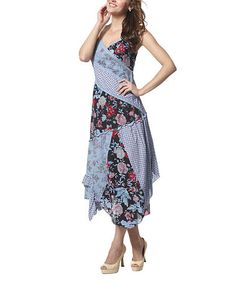 Loving this Blue Calico Surplice Dress on #zulily! #zulilyfinds