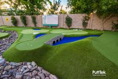 PuttTek was started when our co-founder and now President, Camron Howell, wanted a family friendly, yet challenging, nine… Home Putting Green, Outdoor Putting Green, Backyard Sports, Backyard Games, Backyard Ideas, Garden Ideas, Golf Room, Synthetic Lawn, Large Backyard Landscaping