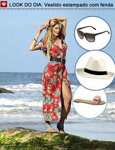 Look do dia para inspirar a ida à praia! Vestido estampado com fenda, elegante e feminino na medida! Para completar o look, rasteiras, chapéu e óculos de sol! Que tal, meninas? ;)