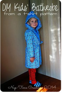 Kids' Bathrobe Sewing Tutorial. Need this for Hollister, since he likes baked time so much!