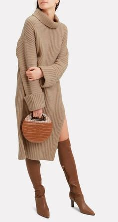 Beige dress - hand knit dress with side incision - wool knit dress - stylish women oversized sweater- dress - hand knit wool beige long dre - Knit Fashion, Look Fashion, Winter Fashion, Womens Fashion, Fashion Beauty, Mode Outfits, Casual Outfits, Fashion Outfits, Swag Fashion