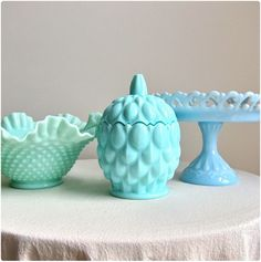 Vintage Fenton Hobnail Turquoise Green Pastel Glass Bowls from the 1950′s