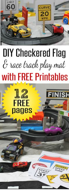 12 Free Pages of Race Car Printables and Road Signs to go with DIY Race Car and Checkered Flag Play Mat by HappyandBlessedHome.com #RecycleYourPeriodPad #sp | FREE Printables | Kid's Birthday Party | Race Cars | Kid's Activities | Road Signs | homeschool