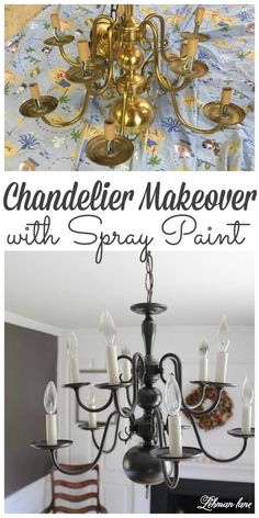 An Easy Chandelier Makeover with Spray Paint Who's ready for an easy chandelier makeover? Before we even moved into our old farmhouse I knew I wanted to change the dining room chandelier. An Easy Chandelier Makeover with Spray Paint Spray Painted Chandelier, Brass Chandelier Makeover, Kitchen Chandelier, Gold Chandelier, Painting Chandeliers, Lamp Makeover, Iron Chandeliers, Chandelier Lighting, Dining Room Lighting