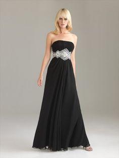 2012 Style A-line Strapless Beading  Sleeveless Floor-length Chiffon Prom Dress / Evening Dress