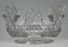 Vintage Heavy Clear Pressed Glass Double Candlestick Holder 2 Candle Centerpiece