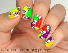 Nailpolis Museum of Nail Art   Neon Triangle Stamping Nail Art ♥ by B.