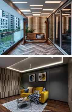 Home Interior Design, Interior And Exterior, Balcony Railing, Contemporary Apartment, Balcony Design, Yellow Walls, Cozy Corner, Apartment Interior, Ceiling Design