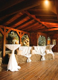 hay bale seating for the dance party portion of the evening | Melissa Schollaert #wedding