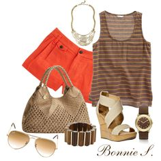 brown & orange by bonnaroosky on Polyvore featuring moda, Madewell, rag & bone, Diane Von Furstenberg, Big Buddha, Marc by Marc Jacobs, Ray-Ban, wedge shoes, aviator sunglasses and statement necklaces
