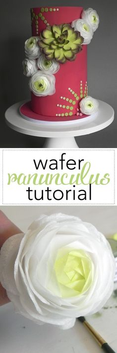 Edible Wafer Paper Ranunculus Tutorial. These beauties are fast and impossibly delicate. A perfect flower for any special occasion cake! via @karascakes