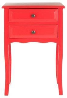 Laila Classic Nightstand, Red -- The gently curved legs and apron of this two-drawer nightstand will bring traditional charm to any room, while the red finish adds a pop of color.
