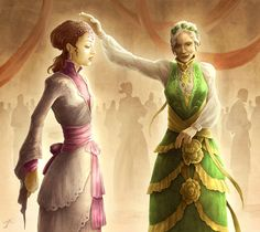 The Queen of Thorns with Sansa Stark at the wedding of Joffrey and Margaery.