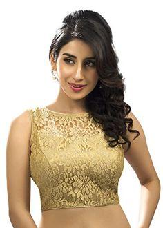 Saris and Things Fancy Gold Net Fabric Sleeveless Saree B…