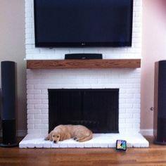 White Brick Fireplace, Wood Mantle