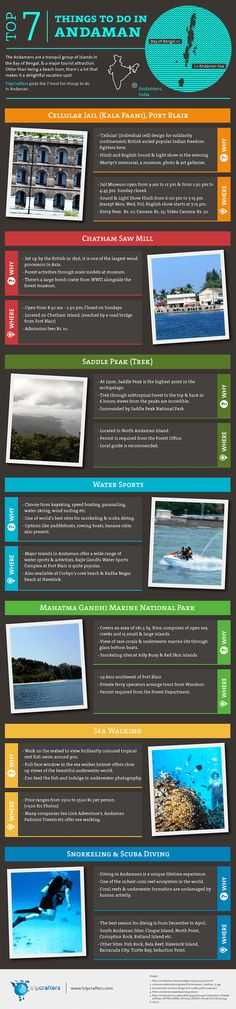 The Andamans are a tranquil group of islands in the Bay of Bengal, & a major tourist attraction. Other than being a beach bum, there's a lot that makes it a delightful vacation spot. TripCrafters picks the 7 most fun things to do in Andaman  [ #INFOGRAPHIC ] #India | #Travel
