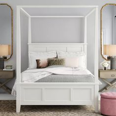 Birch Lane™ Heritage Barnard Four Poster Bed Size: Queen Wood Canopy Bed, Queen Canopy Bed, Canopy Bed Frame, Queen Mattress, Canopy Beds, White Canopy, White Bedding, Bedding Master Bedroom, Bedroom Sets