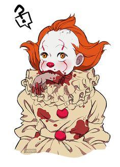 Omg is cute! Tim Burton Style, Le Clown, Pennywise The Dancing Clown, Horror Artwork, Fanart, Pokemon, Horror Movies, Wallpaper, Scary
