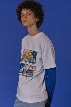 ADER layered styling Cereal cartoon t-shirt Cereal graphic cap #ader #adererror #styling #wit #mixmatch #layered #cartoon