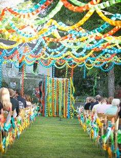 Paper chain wedding decor -- the bride, an elementary school teacher, was inspired by her classroom decorations.