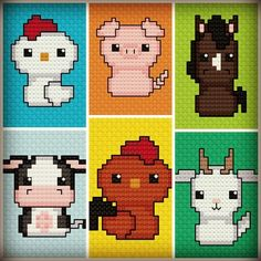 CraftyAlien® Born in a Barn 1 Cross Stitch Pattern. Includes chicken, pig, horse, cow, rooster and goat. $2.99