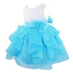 iiniim Mädchen Kinder Kleider Blumenmädchenkleider Hochzeit Partykleid Tüllkleider Brautjungfernkleider Abendkleider Blau 74-80/9-12 Monate