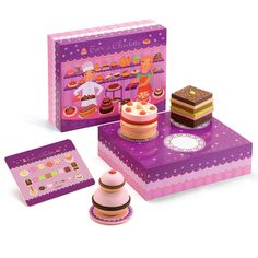 Tom and Charlotte Cake Set: This set allows children to create their own pastries and cakes. Stacking an assortment of layers and fillings made of wood and felt they can create the fantasy dessert of their choosing.