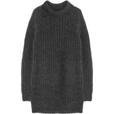 NLST Oversized chunky-knit sweater dress (€255) ❤ liked on Polyvore featuring dresses, sweaters, tops, jumpers and charcoal