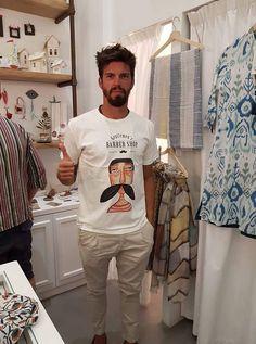 My barber shop T shirt, on Paros island! Paros Island, Painted Mugs, Love Painting, Ceramic Plates, Barber Shop, T Shirt, Shopping, Pottery Plates, Supreme T Shirt