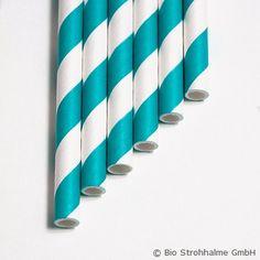 Papiertinkhalm Streifen aquablau