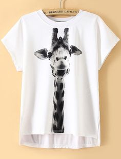 White Dip Hem Giraffe Print T-Shirt